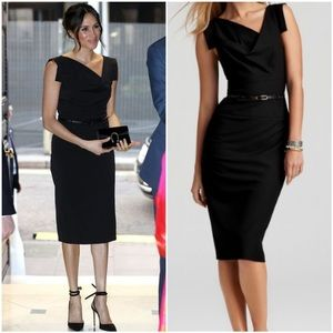 Black Halo Jackie O Belted Sheath Dress XS 0